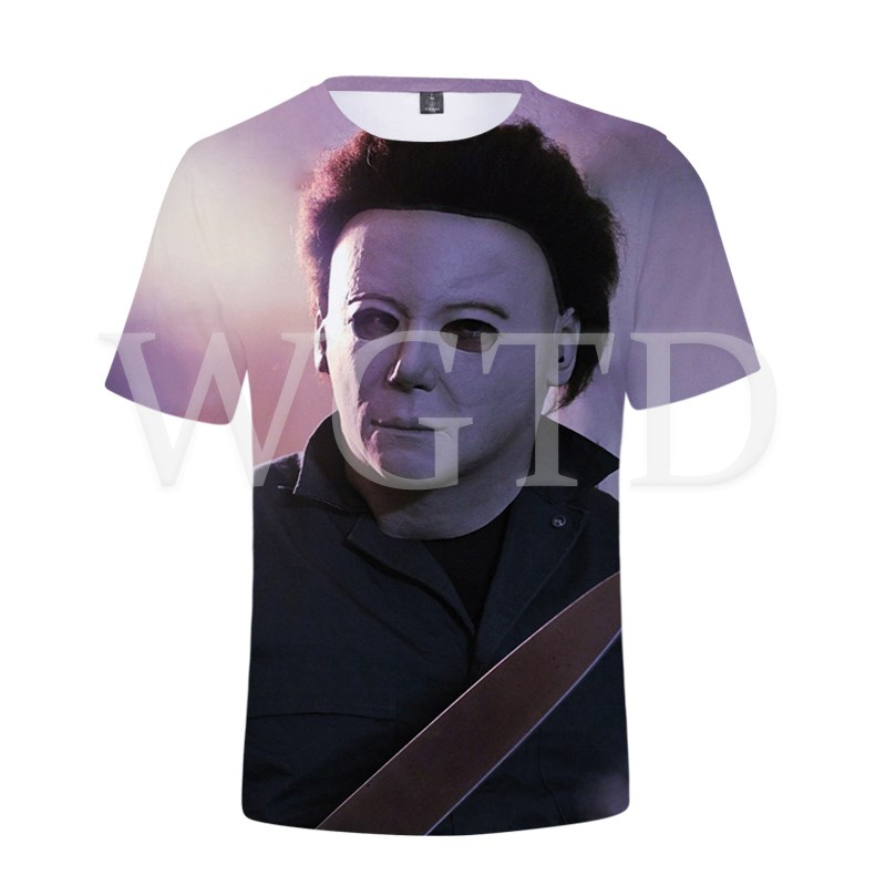 HalloweenMichaelMyersTShirtDPrintedTeeTopsStreetwearCasualT shirtforWomenMenSummerShortSleeveTShirts