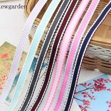 Kewgarden 9 mm Dotted Line Edge Grosgrain Ribbons Handmade Tape Packing Ribbon DIY Bowknot Satin Riband 10 yards / lot