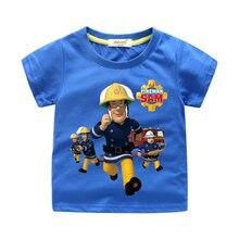 e538ee52206 Kinderen Cartoon Brandweerman Sam Print T-shirt Jongen Zomer Tee Tops  Kleding Meisje Korte Mouw