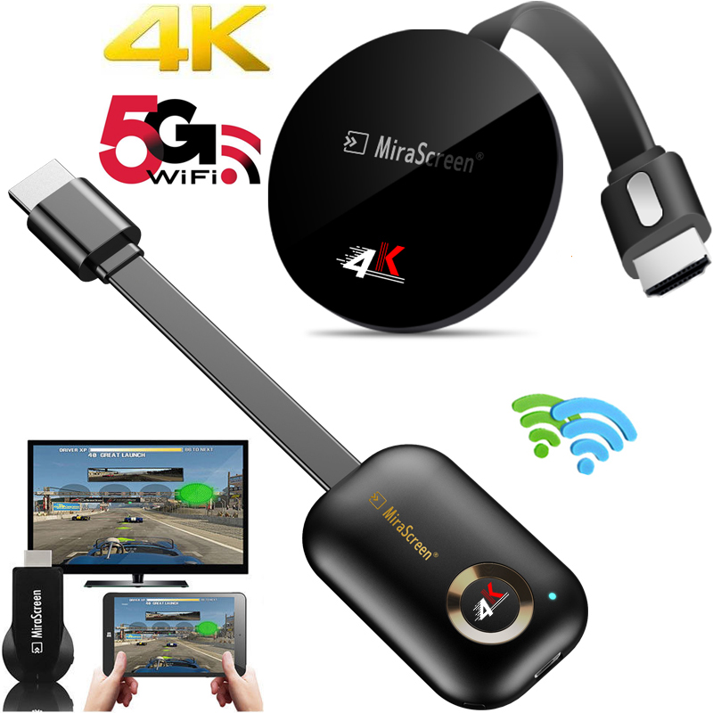 2.4G/ 5G 4K Wireless WiFi Mirroring Cable HDMI Adapter 1080P Display Dongle For IPhone Samsung Xiaomi Huawei Android Phone To TV