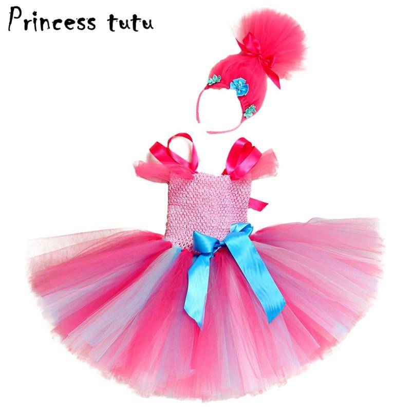 PRINCESS Kids Baby Girl Clothes Trolls Party Dress Headbands Set Halloween  Cosplay Poppy Trolls Costume Girls Tutu Dresses W137 In Dresses From Mother  ...