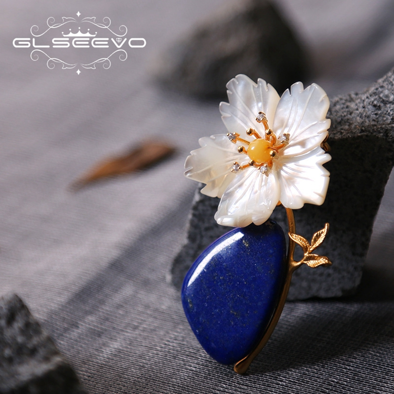 GLSEEVO Natural Lapis Lazuli Mother Of Pearl Flower Brooch Pins Beeswax Brooches For Women Dual Use Luxury Fine Jewelry GO0212 amxiu customized natural shaped pearls brooch pins dual use women necklace pendant beeswax turquoise jewelry flower accessories