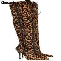 De alta qualidade da moda de Camurça de couro Over-the-knee Coxa botas altas botas Sexy Leopardo Zipado Fêmeas Partido Boate Botas longas