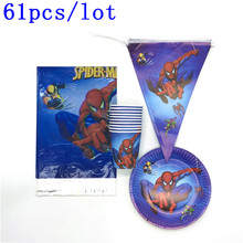 61Pcs/Lot Spiderman Theme Birthday Party Decoration Kids Paper Cups Plates Tablecloths Disposable Tableware Supplies