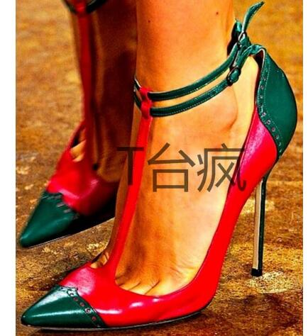 ФОТО Hot Selling Runway High Heel Shoes Sexy Pointed Toe Mixed Colors Leather  Pumps For Woman 2017 T-strap Thin Heels Shoes