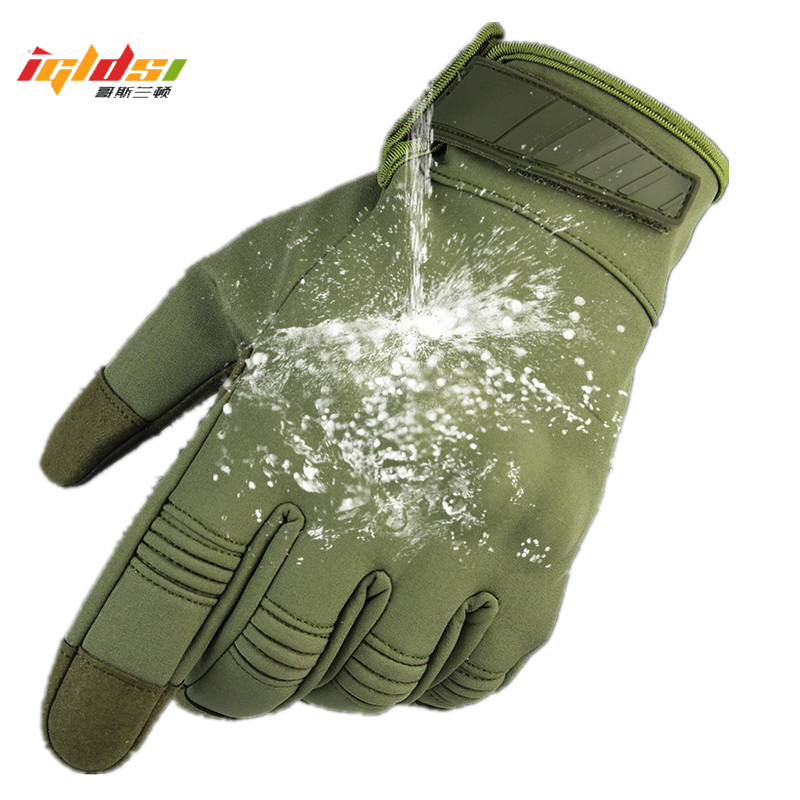 Waterproof Touch Screen Tactical Hard Knuckle Full Finger Gloves Windproof SWAT Combat Gloves Camouflage Special Forces Gloves