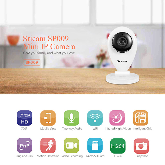 New version ! Sricam SP009 IR Cut Wifi IP Camera Network Wireless 720P HD Camera CCTV Security Camera Home Security Baby Monitor