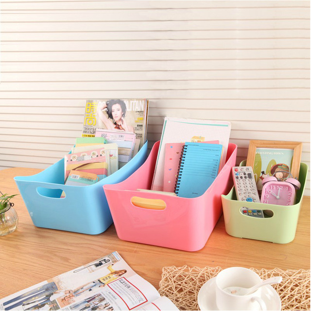 candy color storage boxes multi functional desktop boxes rectangular box sundry storage box plastic home - Buy Candy By Color