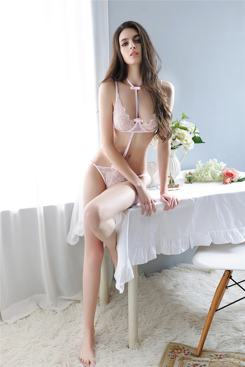 YUFEIDA Sexy Womens Onesies Set Transparent Lace Top Bra Straps+Thongs Porno Sex Costumes Products Sleepwear Bodysuit
