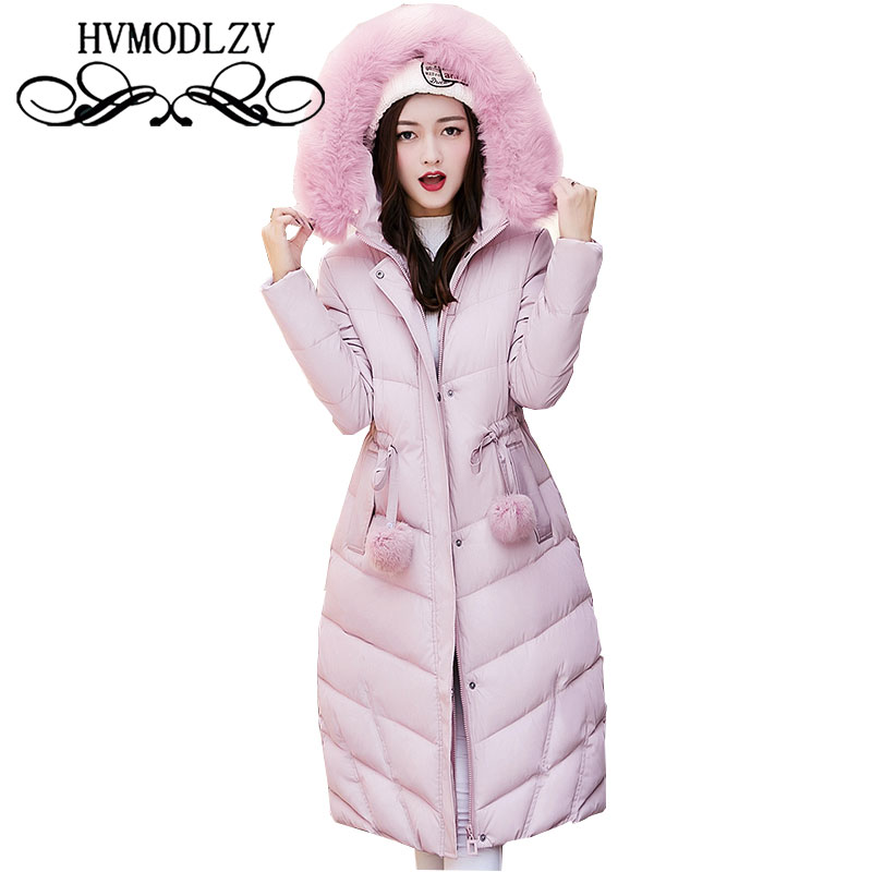 Winter Fur Collar Thick Cotton Women Jacket 2017 New Large Size long section Ladies Coat warm High quality Jacket Women ls614 winter feather cotton women outwear long section thick section slim hooded coats large fur collar large size down jacket lx165