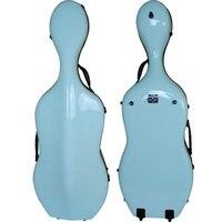 Quality Strong Fiberglass 4 4 Size Cyan Cello Case Bag Perfect Workmanship 2 Wheels 4 5
