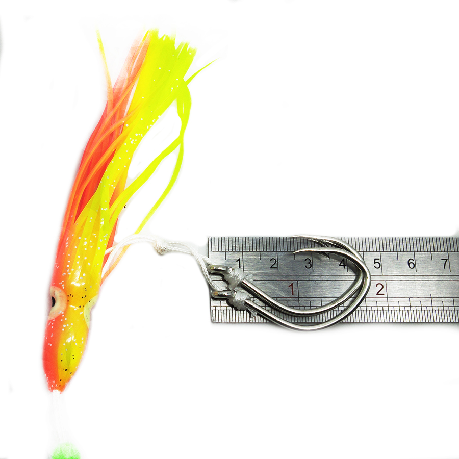 5 Pcs 12cm Soft Octopus Fishing Lures Trolling Squid Skirts Baits Tuna Tail Rigs