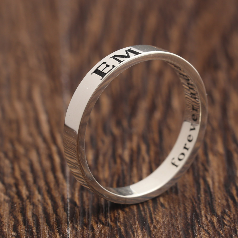 Custom Name Solid Silver Ring Men Two sides Engraved Name Personalized Engagement Rings Wholesale