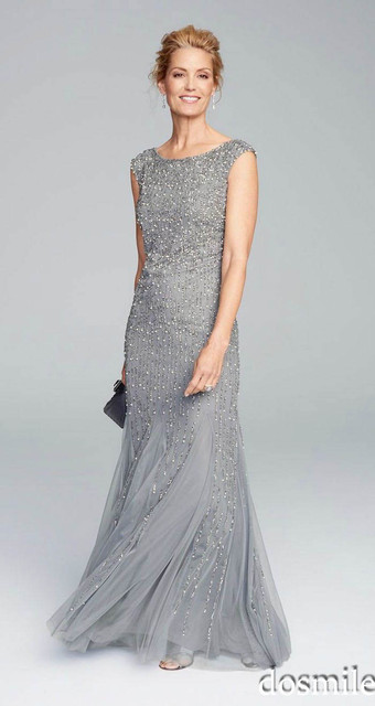 2016 cinza elegante longo chiffon plus size mãe de vestidos de noiva sem mangas frisado festa de casamento mãe vestidos