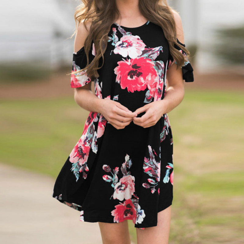 Boho Summer Mini Dress 2018 Floral Printed Casual Loose A-Line Dress Sexy Off Shoulder Beach Sundress Pockets Plus Size GV249