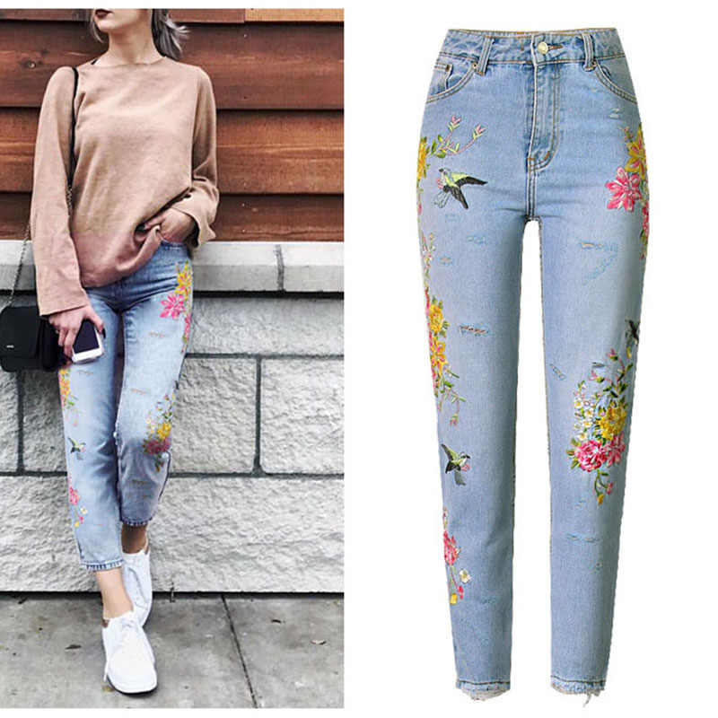 47af5109fc1a4 New Fashion Jeans Women s Clothing 3D Floral Embroidery Denim Pants High  Waist Straight Vintage Ripped Ladies