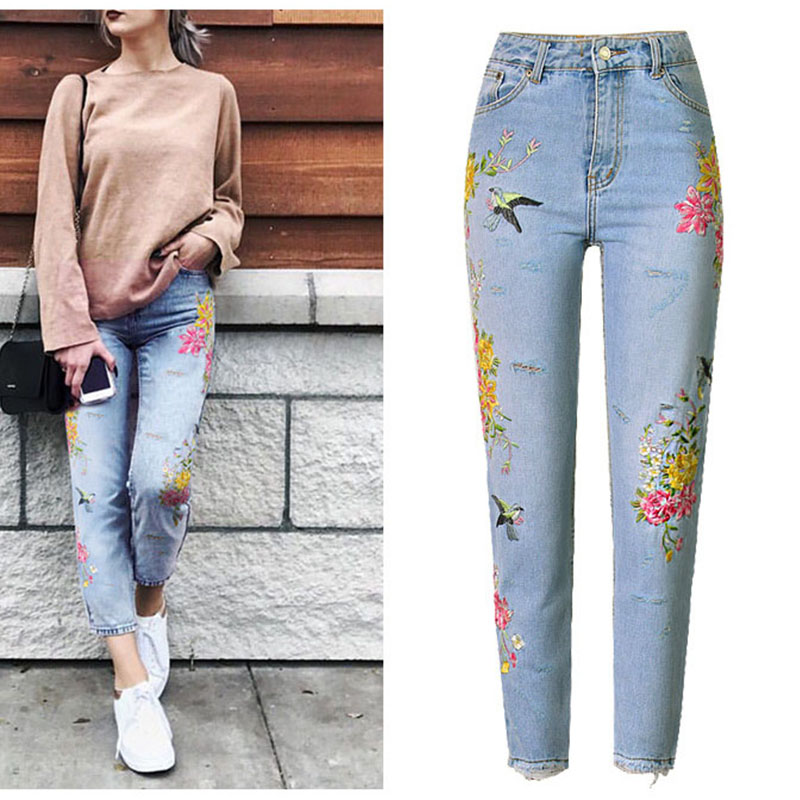 New Fashion Jeans Women's Clothing 3D Floral Embroidery Denim Pants High Waist Straight Vintage Ripped Ladies Slim Jean Trousers wholesale 2016 new unique fashion runway hiphop hole wornout ripped girl pants jean destroy womens slim denim jeans trousers