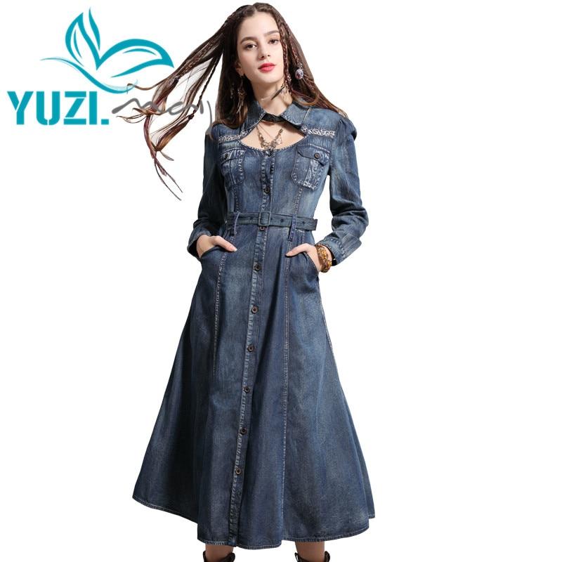 Dress Female 2019 Yuzi may Boho New Denim Women Dresses Turn down Collar Vintage Embroidery Belted