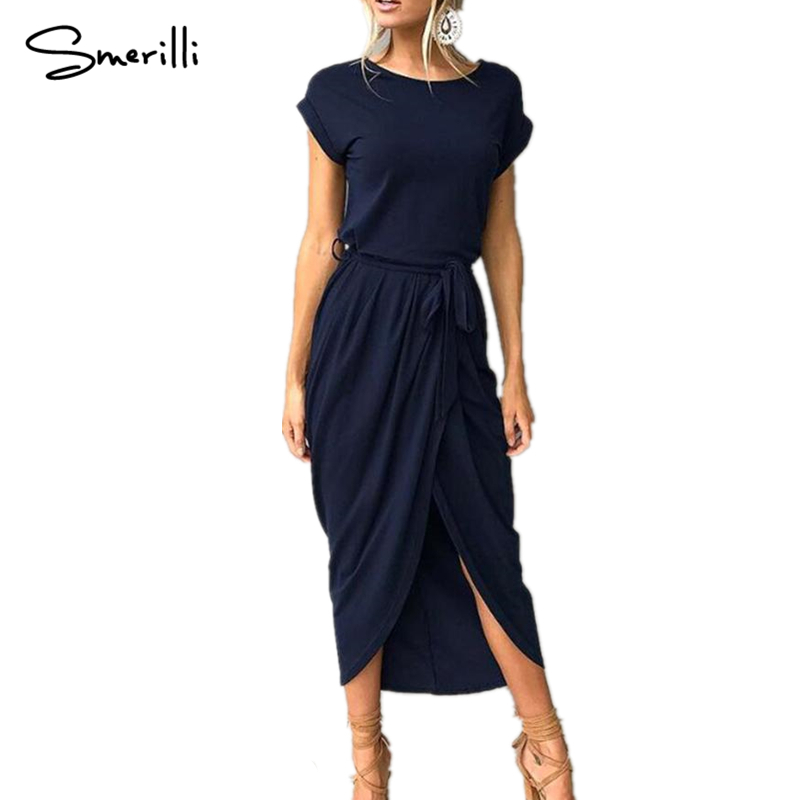 Summer Women Short Sleeve Maxi Dress Spring 2018 New Fashion Drawstring Long Shirt Dresses Open Slit Women Casual Dress Vestidos