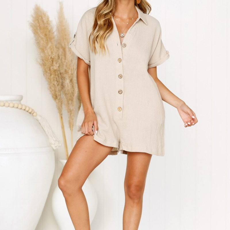 Newest Female Shirt Button   Jumpsuit   Summer Hot Sale New Arrival Women Rompers Fashion Casual Loose Playsuit High Quality