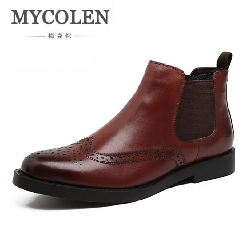MYCOLEN Martin Boots Pointed Toe Autumn Brand Shoes Carved Hollow Solid Men Boots Genuine Leather Comfortable Bota Masculina northmarch autumn winter retro men boots comfortable zipper brand casual shoes leather snow boots shoes dark red bota masculina