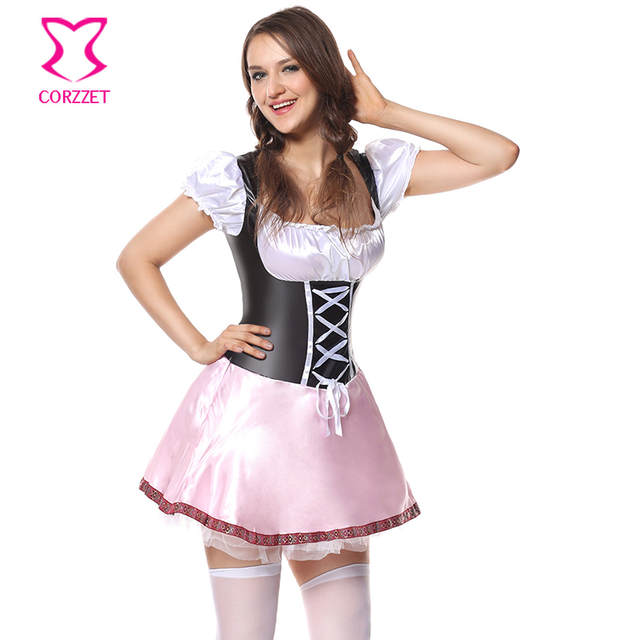 7d0b9b879f9 US $16.92 42% OFF|Women Pink Maid Outfit Bavarian Dirndl Oktoberfest Fancy  Dress German Beer Girl Costume Halloween Cosplay Sexy Carnival Costumes-in  ...