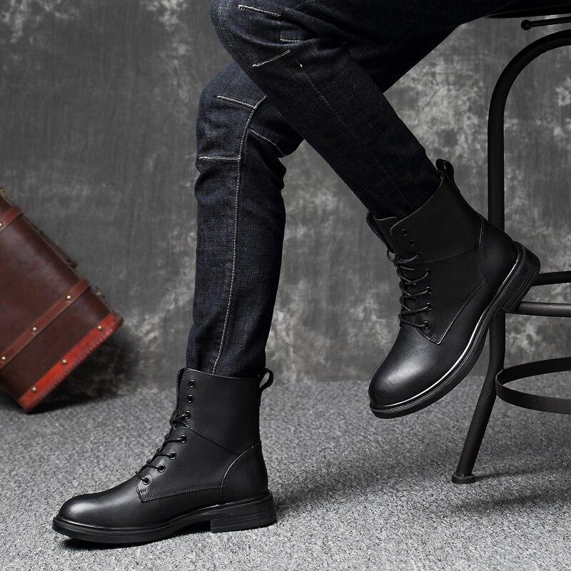 BOLE/Размеры 35-50, ботинки из натуральной кожи, Мужская весенне-зимняя кожаная обувь с высоким берцем, бархатные мужские ботинки на плоской под...