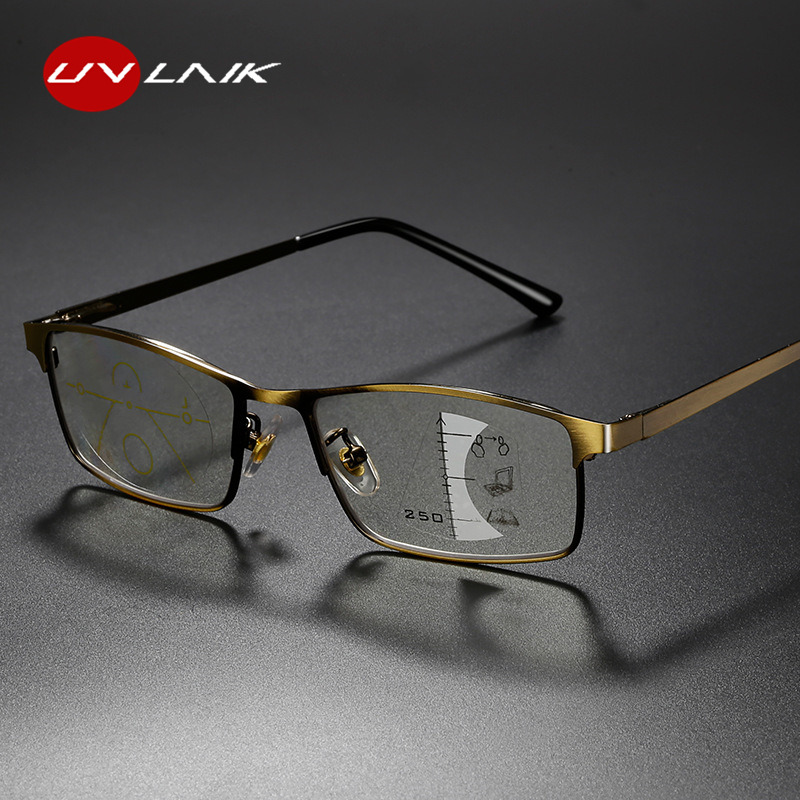UVLAIK Progressive Multifocal Reading Glasses Men Alloy Frame Photochromic Eyeglasses Women Anti Blue Light Prescription Glasses
