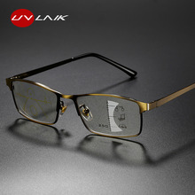 UVLAIK ilerici multifokal okuma gözlüğü erkekler alaşım çerçeve fotokromik gözlük kadınlar için Anti mavi işık reçete gözlük