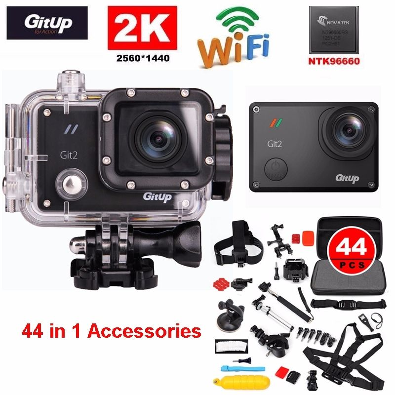 Free Shipping!Gitup Git2 Pro Novatek NTK96660 Wireless WiFi 2K Helemet Sports Action Camera Outdoor DV+44 in1 Accessories Kit sparkz юбка до колена