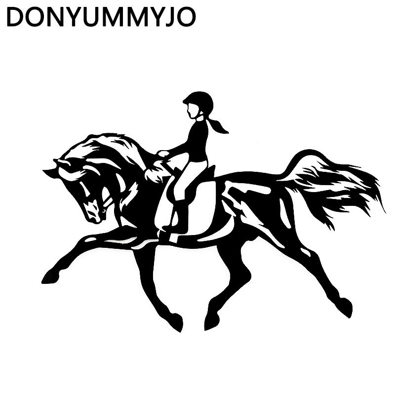 DONYUMMYJO 18cm*12.5cm Riding A Horse Jumping Sport Girl Interesting Vinyl Decal Black/Sliver Car Sticker RW-017