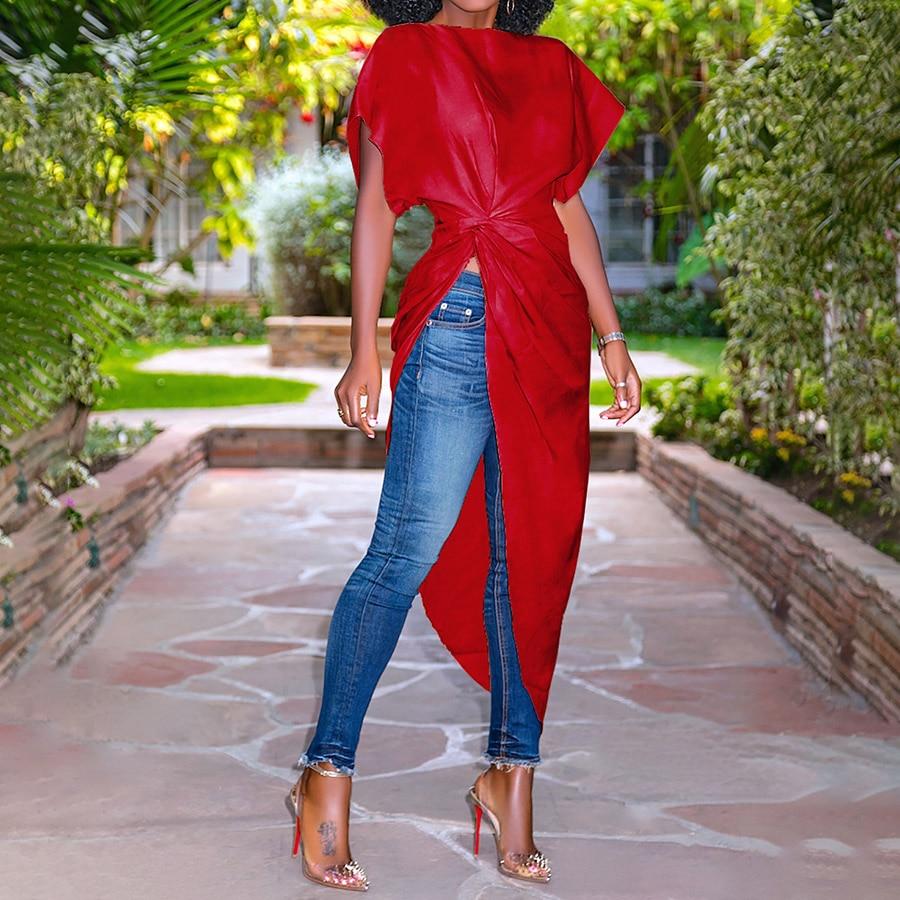 Clocolor Women Long   Blouse     Shirt   Asymmetric Irregular Short Sleeve Summer Tops Fashion Modern Tunic Pleated Red   Blouse     Shirts