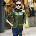 WomensDate 2016 Winter Women Ultra Light Down Coat 90% White Duck Down Jackets Women's Hooded Slim Down Parkas XXXL Dark Green