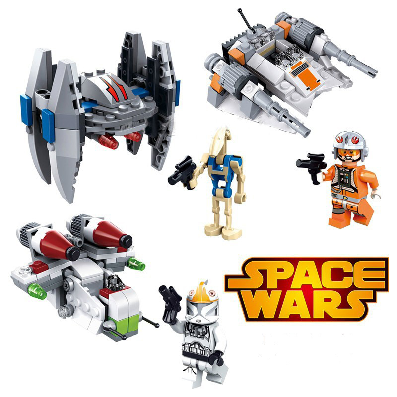 3pcs Star Wars Warships Spaceship Clone Troopers Building Blocks Mini Sets Bricks Figures kids Toys Compatible with legoeINGly