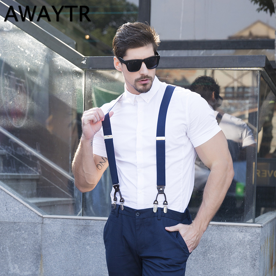 AWAYTR 2018 Fashion Men Suspenders 6 Clip-on 10 Colors Braces Elastic Suspensorio 108 Cm  Women Suspenders Leather Strap
