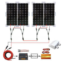 400W SOLAR SYSTEM 4X 100W MONO SOLAR PANEL W/ 1000W POWER INVERTER CHARGING 24V