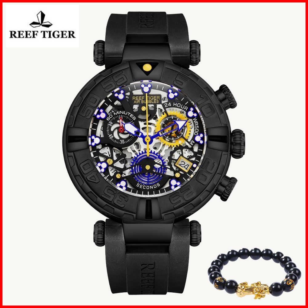 שונית טייגר/RT מותג יוקרה גברים שעון גדול שלד עמיד למים גומי הכרונוגרף שעון תאריך ספורט שעונים Relogio Masculino Saat
