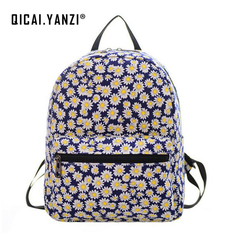 QICAI.YANZI 2017 New Arrival Fashion Printed Backpack Girl Canvas Travel Cartoon Bags Children Schoolbag High Quality P398 new arrival cartoon images girl fashion black