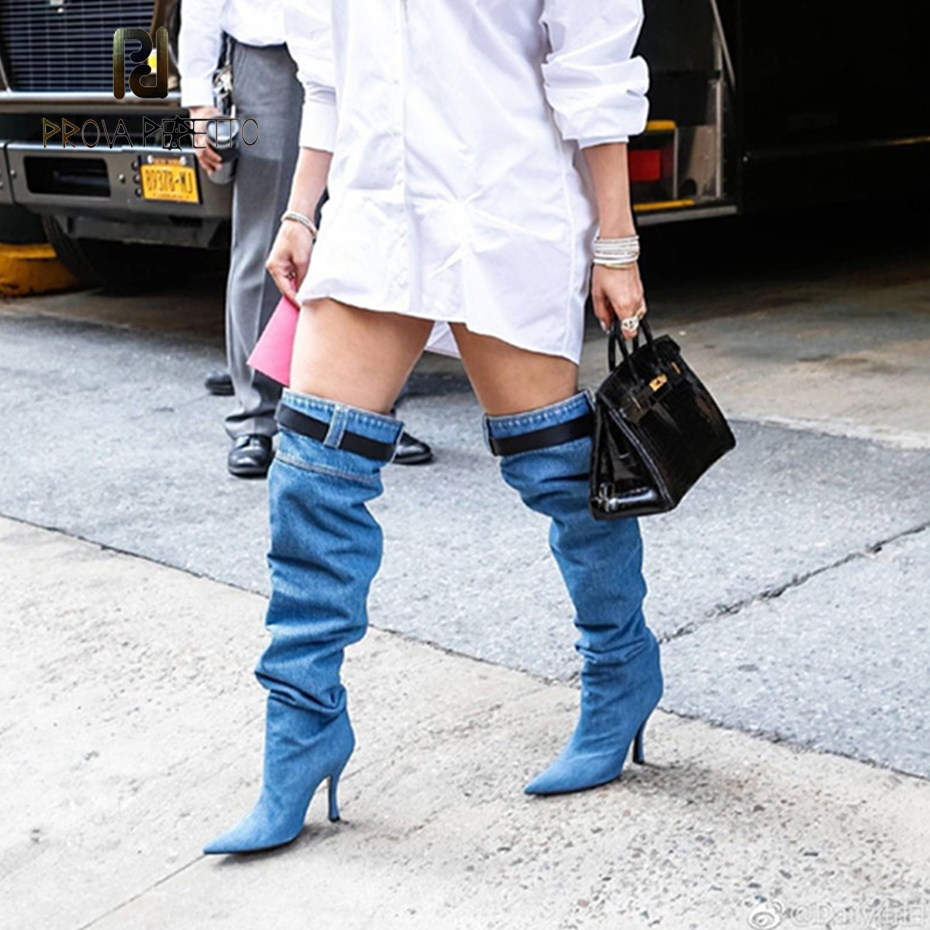 Prova Perfetto euramerican superstar runway style over knee boot denim high heel long boot sexy pointed toe lady thigh high boot