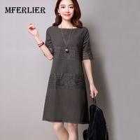 Women Dress White Gray Color O Neck Short Sleeve Cotton Linen A Line Dress Plus Size
