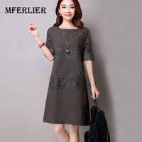 Women Dress White Gray Color O Neck Short Sleeve Cotton Linen A Line Dress Plus Size