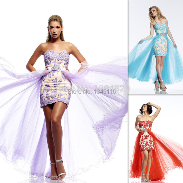 2017 Pretty Lavender Prom Dresses Lace Two Piece Detachable Skirt ...