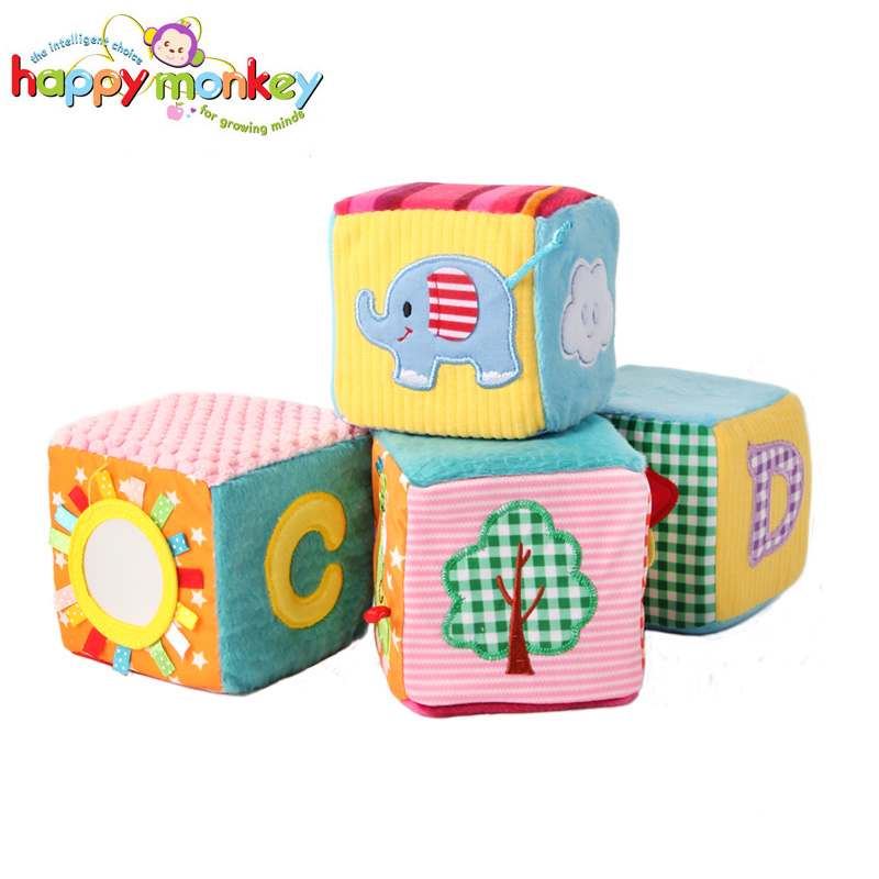 Baby Newborn Rattle Toy 4 Pcs Baby Soft Play Activity Block Grasp Cube Set Crinkle