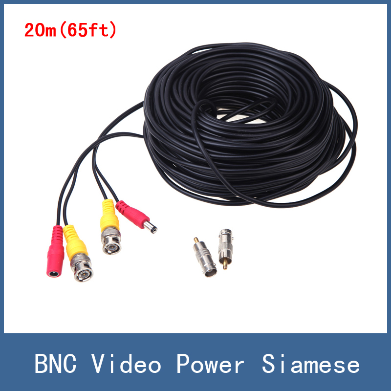 High Quality 20m(65ft) Length BNC Video Power Siamese Cable for CCTV Surveillance Camera DVR Kit , Free Shipping solder free bnc connector for surveillance camera cable silver