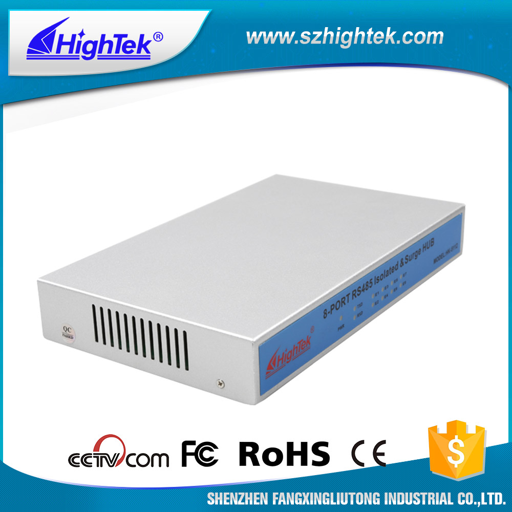 HighTek HK 5112 Industrial Grade 1 Port RS232/485 to 8 Port RS485 Hub each port with Optical Isolation 1500W thunder protection