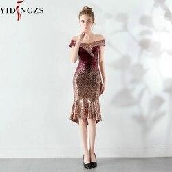 YIDINGZS новое женское элегантное короткое, с блестками платье для выпускного вечера до колена блестящее вечернее платье YD16181