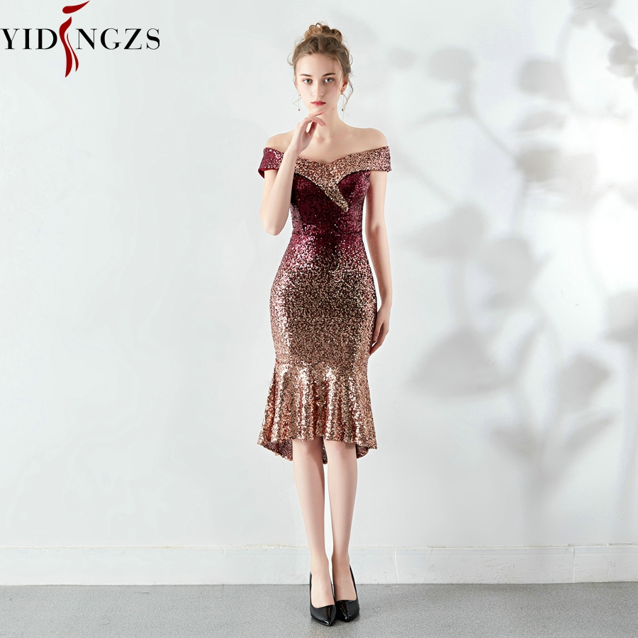 YIDINGZS New Women Elegant Short Sequin Prom Dress Knee Length Sparkle Evening Party Dress YD16181