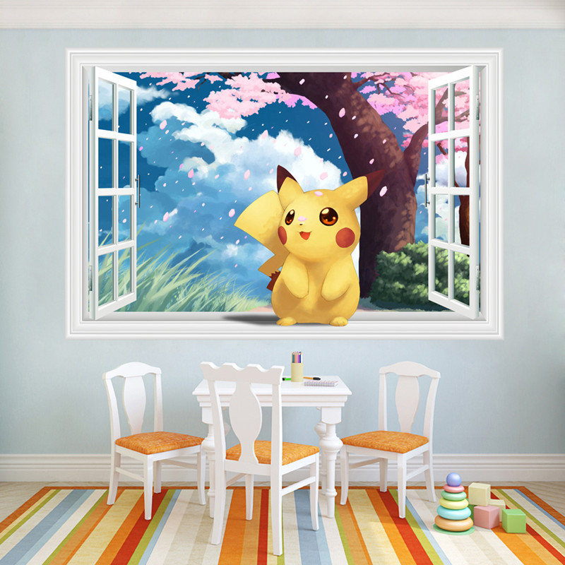Charmant Baby Pikachu Anime Vinyl Wall Decals Pokemon 3d Fake Window Stickers Kids  Room Nursery Decoration Cartoon Wallpaper Poster Mural In Wall Stickers  From Home ...