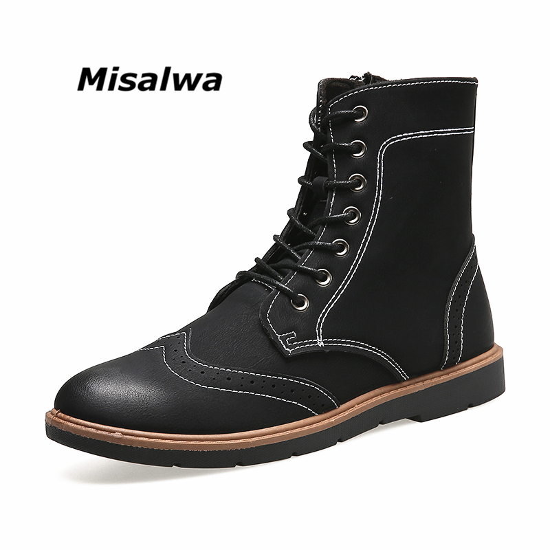 Misalwa Black Motorcycle Shoe Man Spring Autumn High Top Ankle Boots 2018 Vintage Leather Zipper Lace-up Men's Botas Masculina