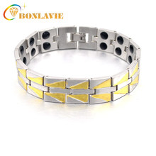 2018 Hot Sale Double Row Men's Fashion Magnetic Bracelet Copper Bracelets Bangles for Men Jewelry Gifts(China)